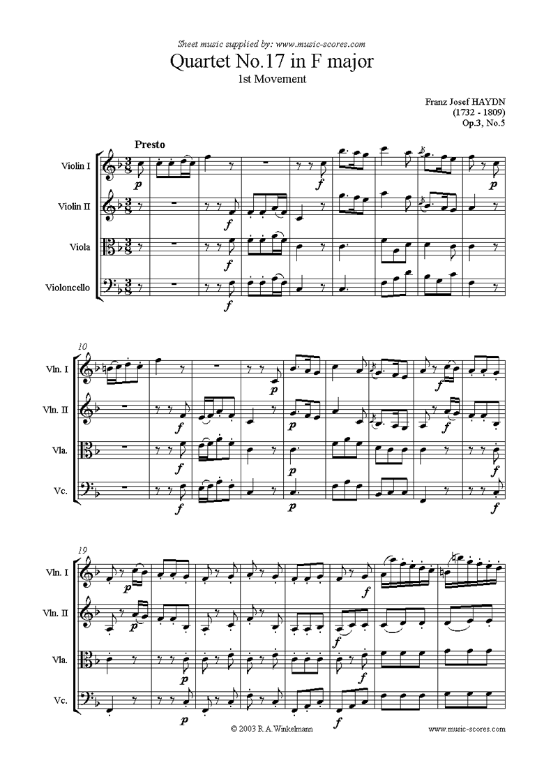 Front page of Op.3, No.5: Quartet No.17 in F major: 1st mvt sheet music