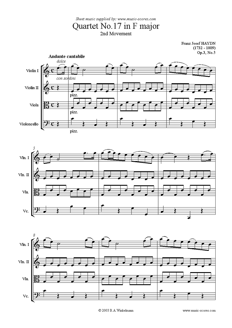 Front page of Op.3, No.5: Quartet No.17 in F major: 2nd mvt sheet music