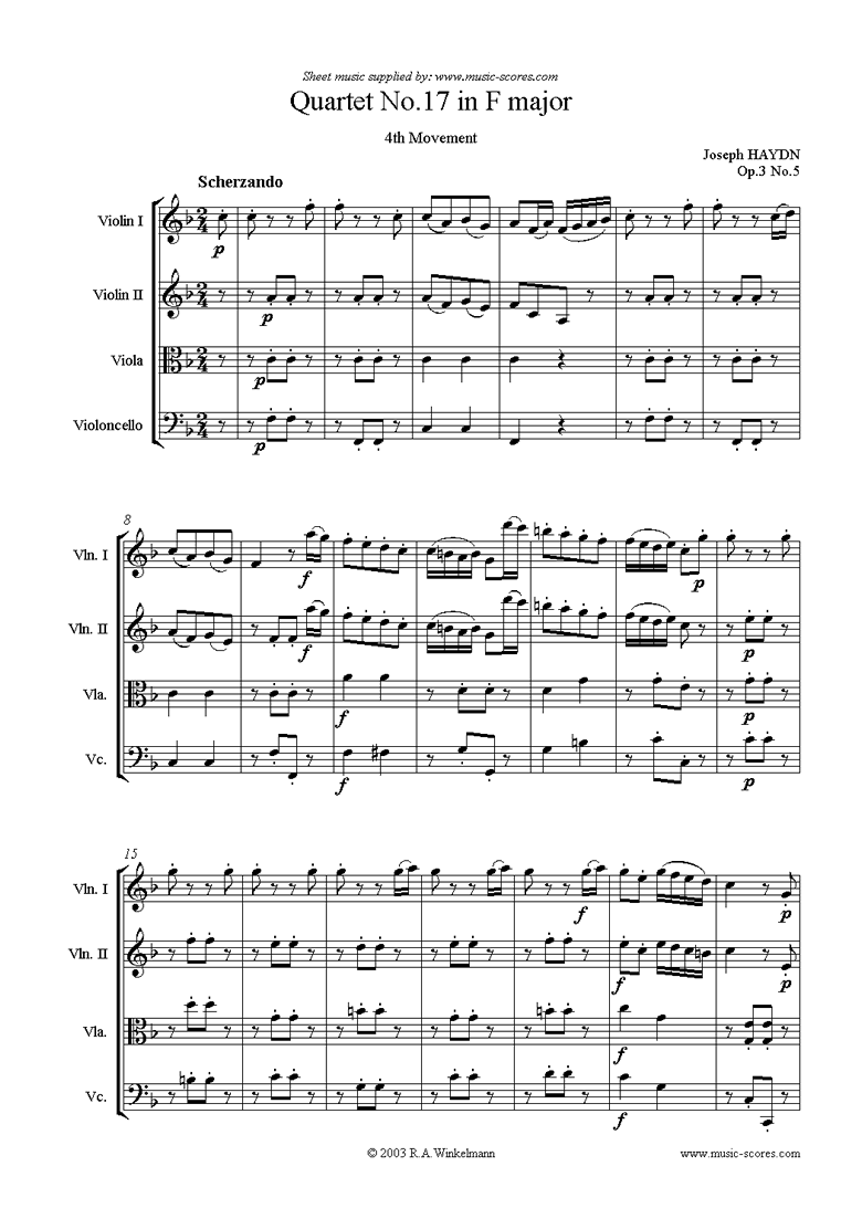 Front page of Op.3, No.5: Quartet No.17 in F major: 4th mvt sheet music