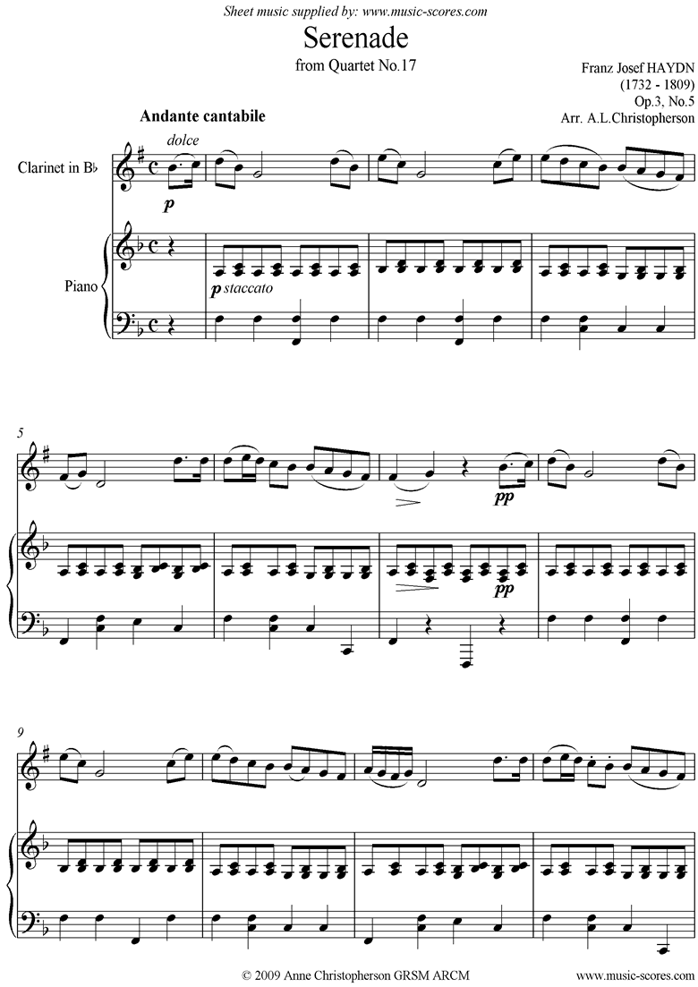 Front page of Op.3, No.5: Serenade: Andante Cantabile: Clarinet and Piano sheet music