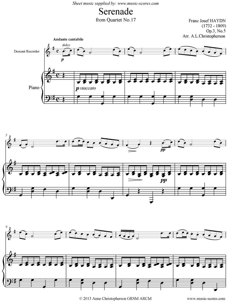 Op.3, No.5: Serenade: Andante Cantabile: Recorder and Piano by Haydn