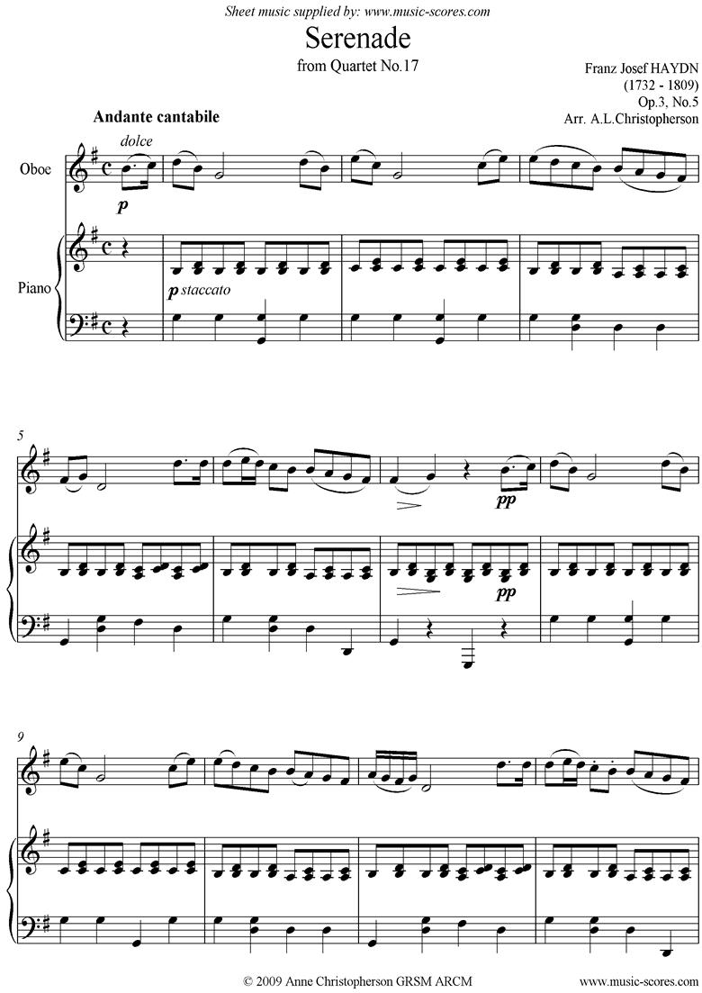 Op.3, No.5: Serenade: Andante Cantabile: Oboe and Piano by Haydn