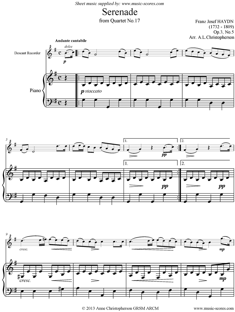 Front page of Op.3, No.5: Serenade: Andante Cantabile: Recorder and Piano sheet music