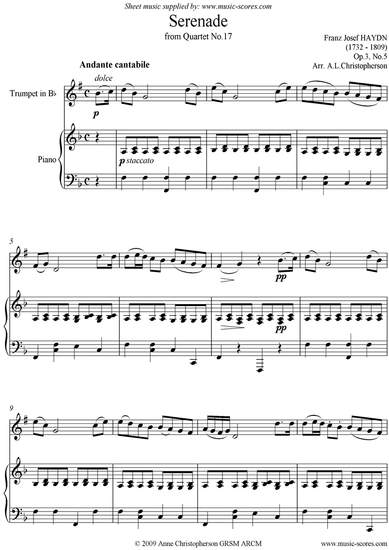 Op.3, No.5: Serenade: Andante Cantabile: Trumpet and Piano by Haydn