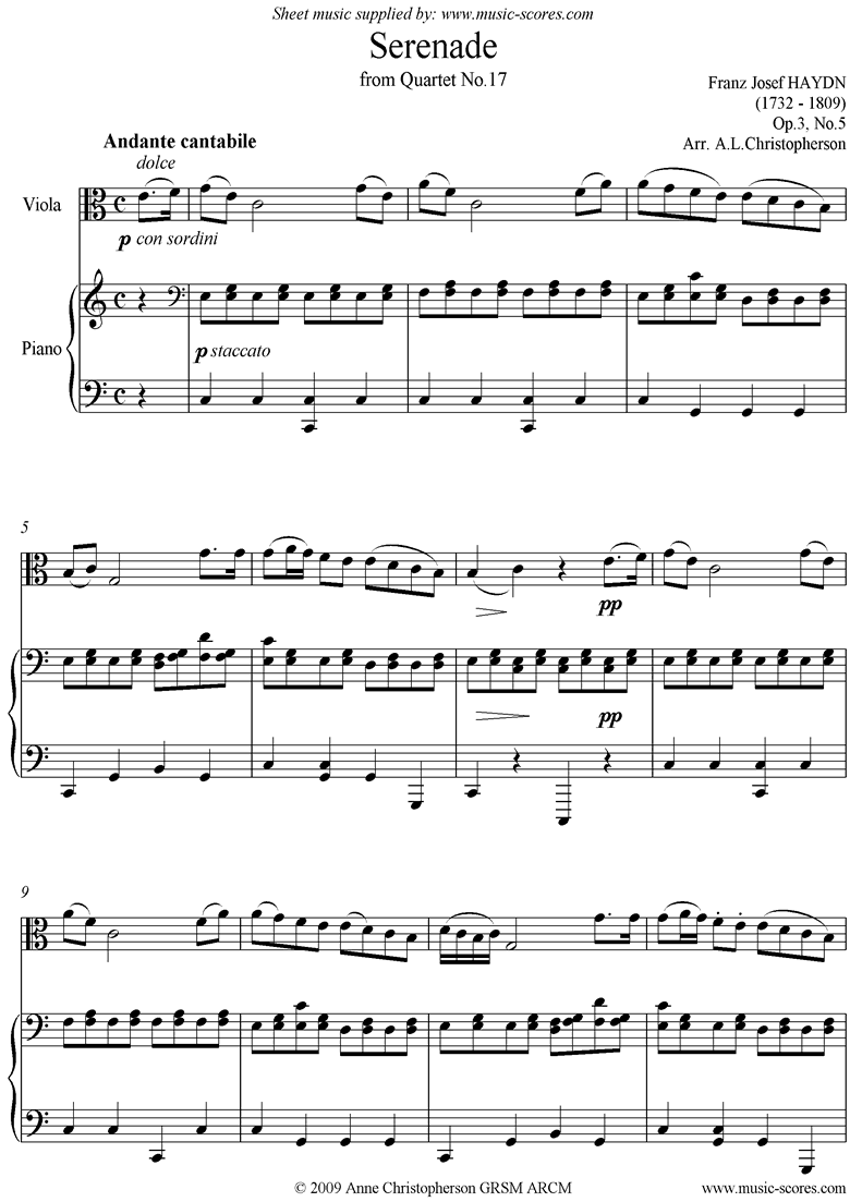 Front page of Op.3, No.5: Serenade: Andante Cantabile: Violin and Piano sheet music