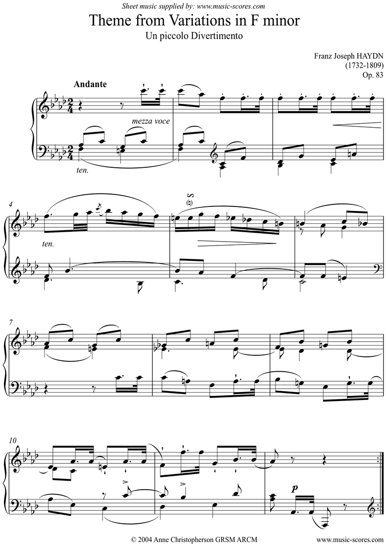 Front page of Op.83: Theme from Variations in F minor sheet music