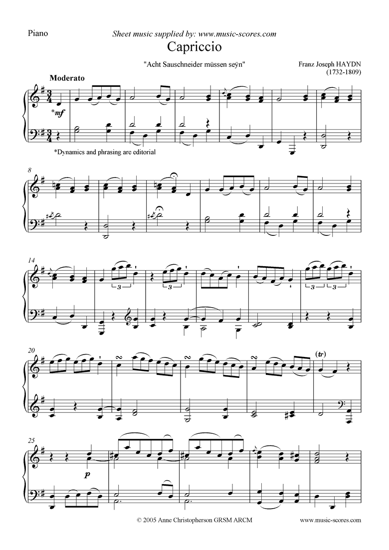 Front page of Capriccio: Piano or Harpsichord sheet music