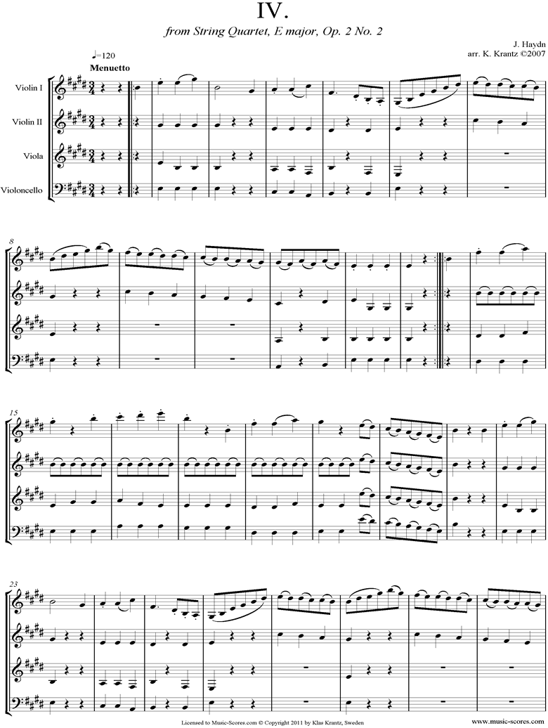 Front page of Op.2, No.2: Quartet No.8: 4th mvt, Minuet and Trio; String 4 sheet music