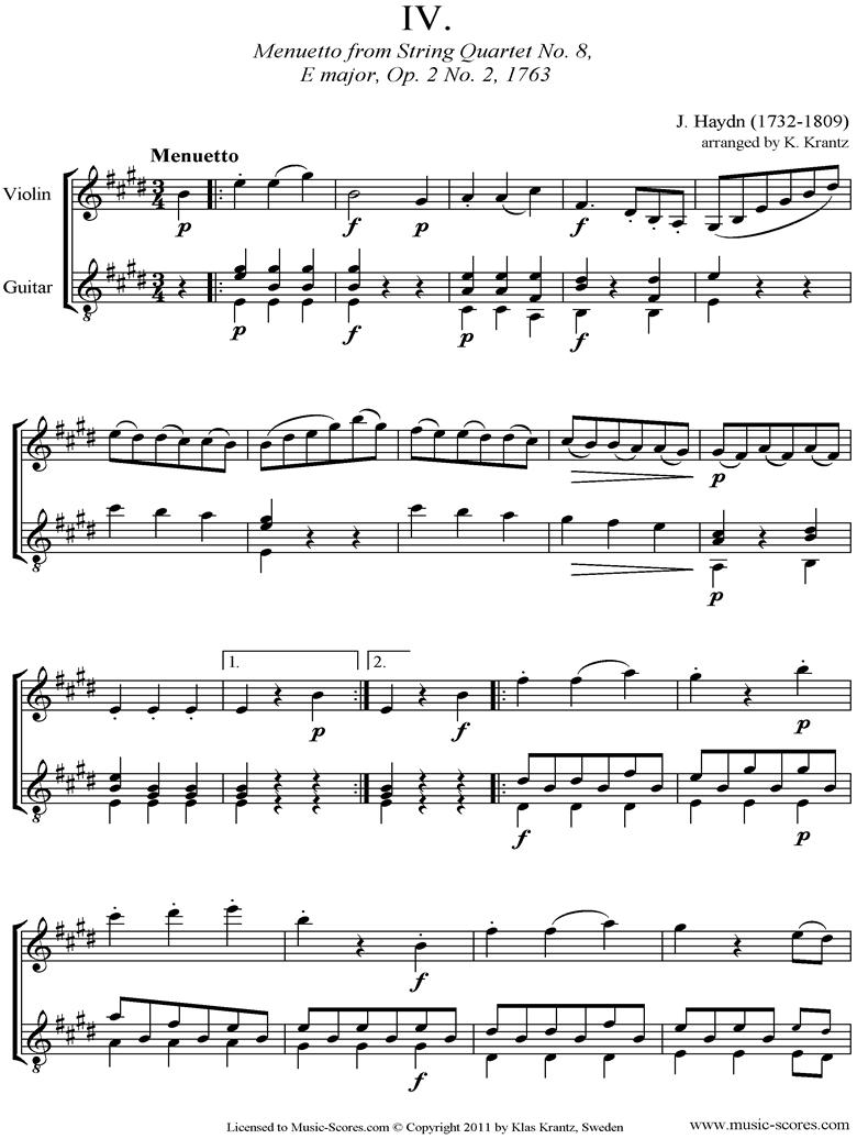 Front page of Op.2, No.2: Quartet No.8: 4th mvt, Minuet and Trio: Violin, Guitar sheet music