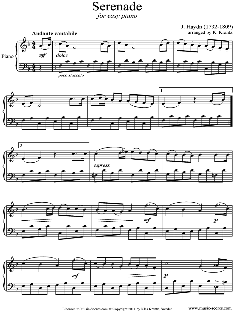Front page of Op.3, No.5: Quartet No.17 in F major: 2nd mvt: Piano sheet music
