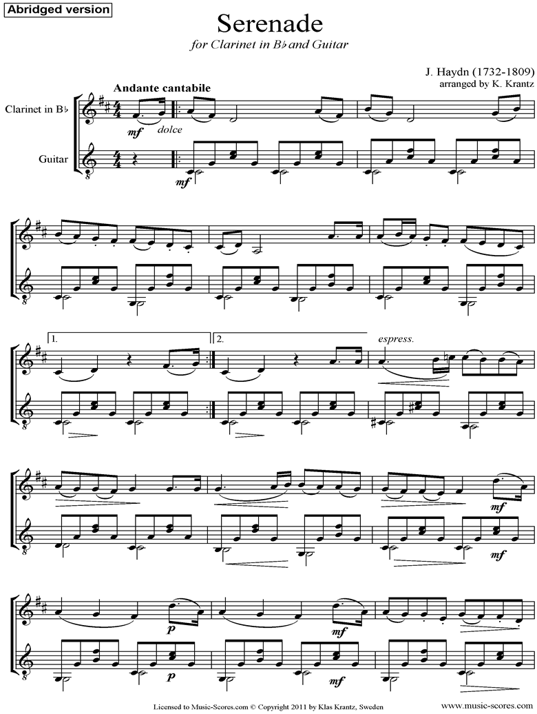 Front page of Op.3, No.5: Quartet No.17 in F major: 2nd mvt: Clarinet, Guitar, short version sheet music
