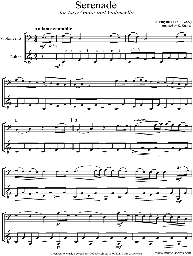 Front page of Op.3, No.5: Quartet No.17 in F major: 2nd mvt: Cello, Guitar sheet music