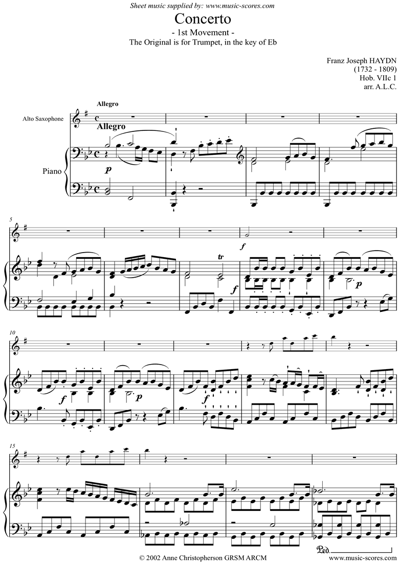 Trumpet Concerto, 1st Movement: Hob. VIIc 1 by Haydn