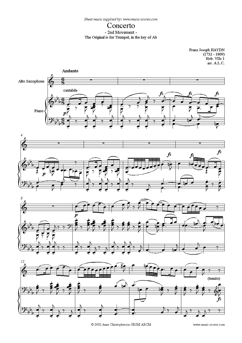 Trumpet Concerto, 2nd Movement: Hob. VIIc 1 by Haydn