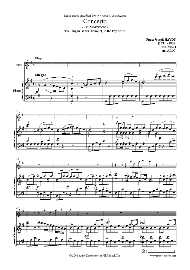 Front page of Trumpet Concerto, 1st Movement: Hob. VIIc 1 sheet music