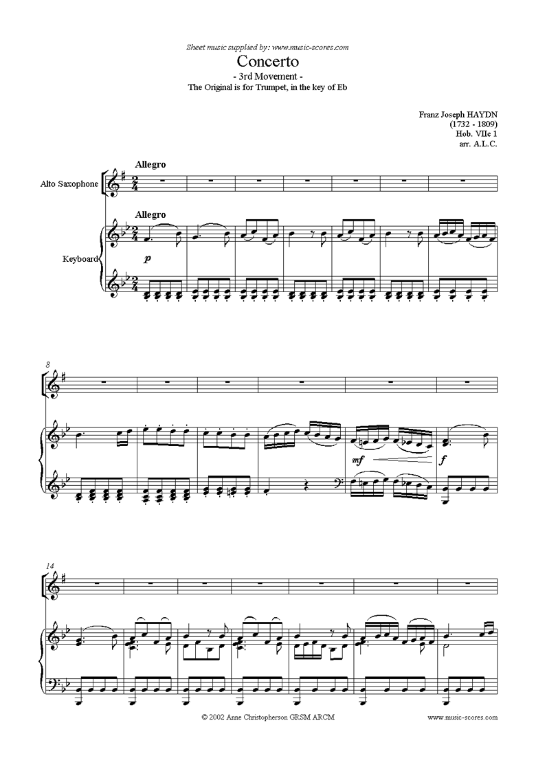 Front page of Trumpet Concerto, 3rd Movement: Hob. VIIc 1 sheet music