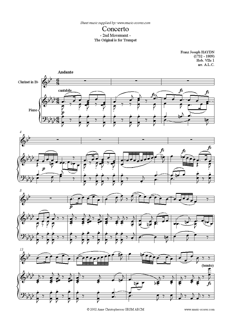 Front page of Trumpet Concerto, 2nd Movement: Hob. VIIc 1 sheet music
