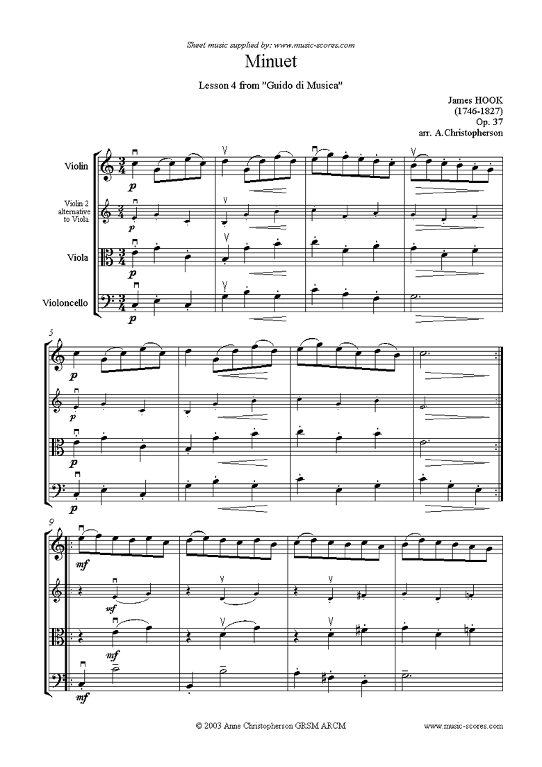 Front page of Guida di Musica: No.4 Minuet - String Trio sheet music