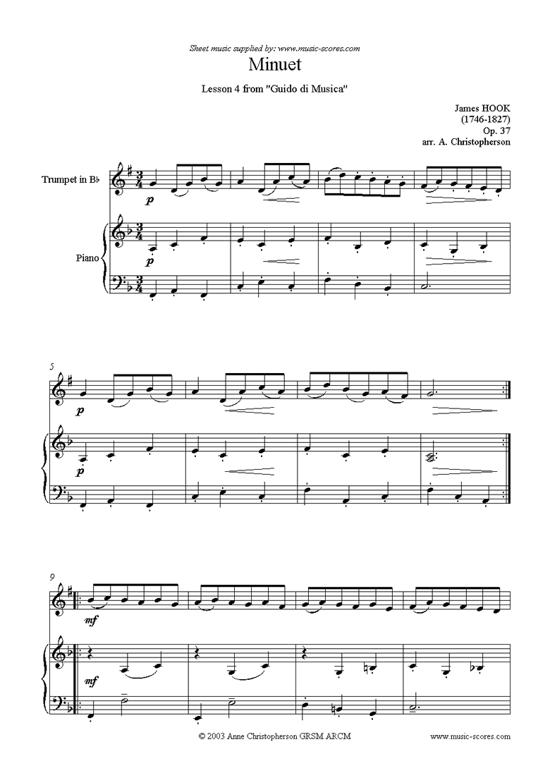 Front page of Guida di Musica: No.4 Minuet - Trumpet sheet music