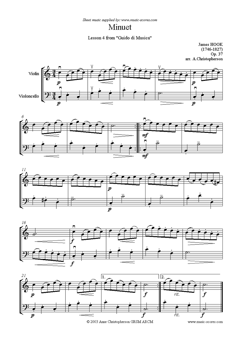 Front page of Guida di Musica: No.4 Minuet - Violin and Cello sheet music