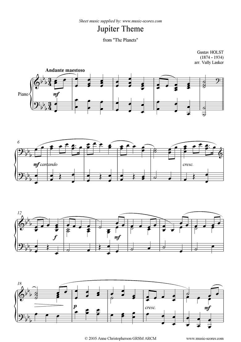 Front page of The Planets: Theme from Jupiter sheet music
