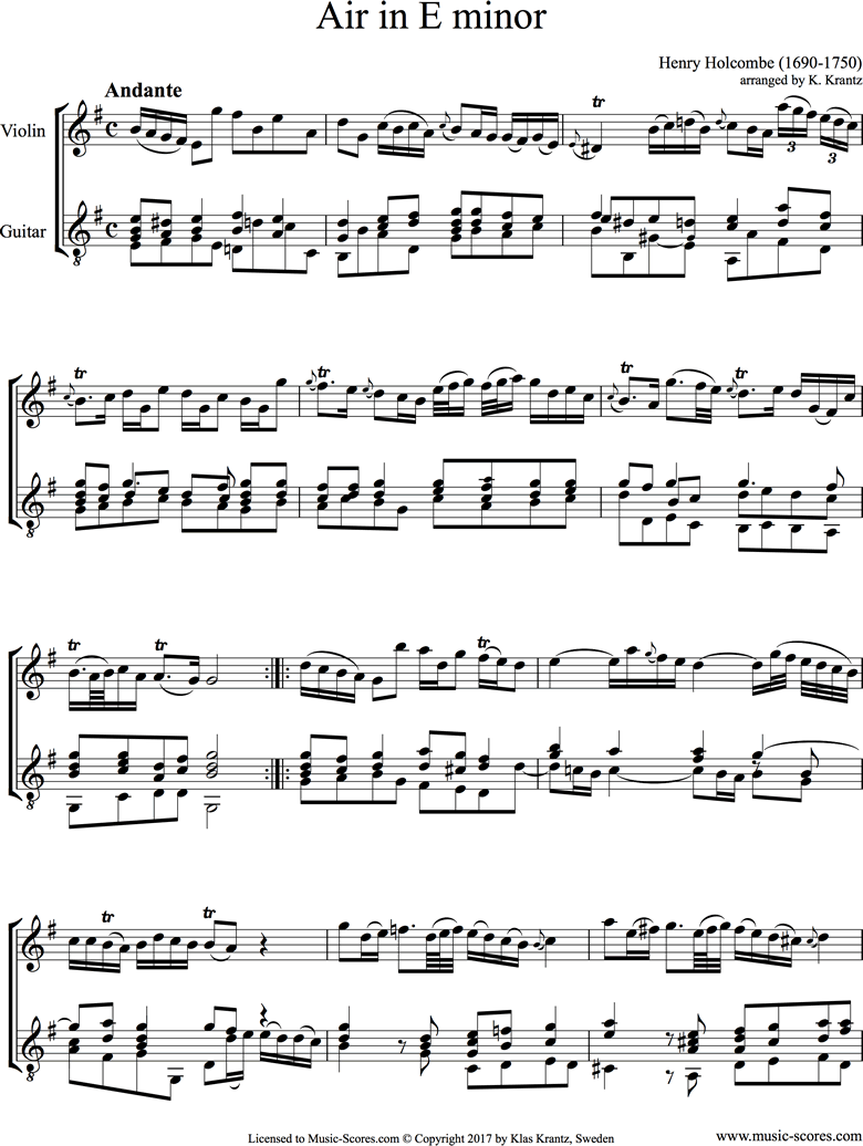 Front page of Air in E minor: Violin, Guitar sheet music