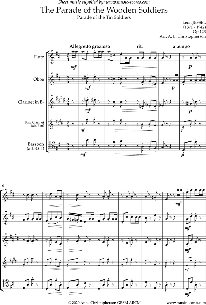 Front page of Parade of the Wooden Soldiers: Wind Quartet sheet music
