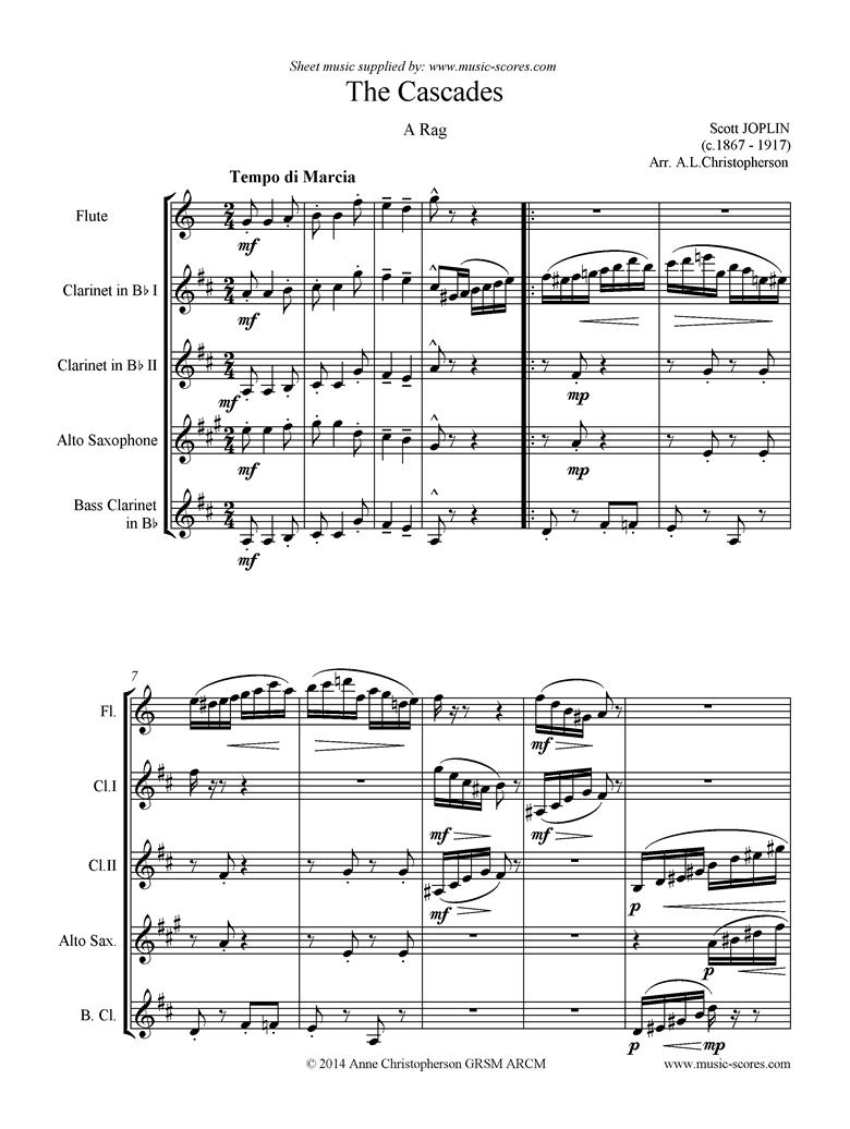 The Cascades: Flute, 2 Clarinets, Alto Sax, Bass Clarinet by Joplin