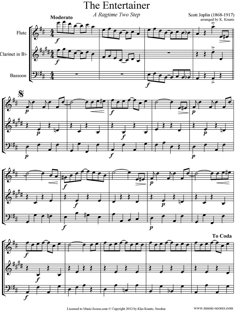 The Entertainer: Flute, Clarinet, Bassoon by Joplin