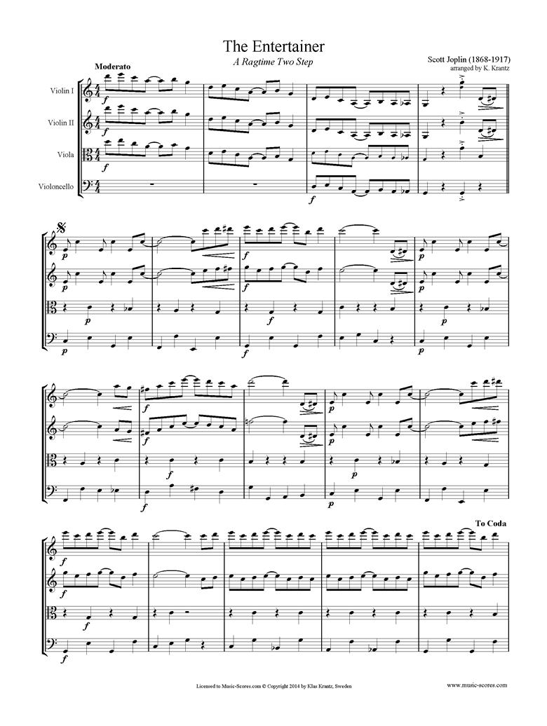 The Entertainer: 2 Violins, Viola, Cello by Joplin