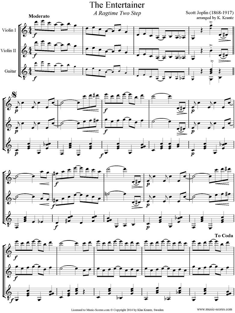 The Entertainer: 2 Violins, Guitar by Joplin