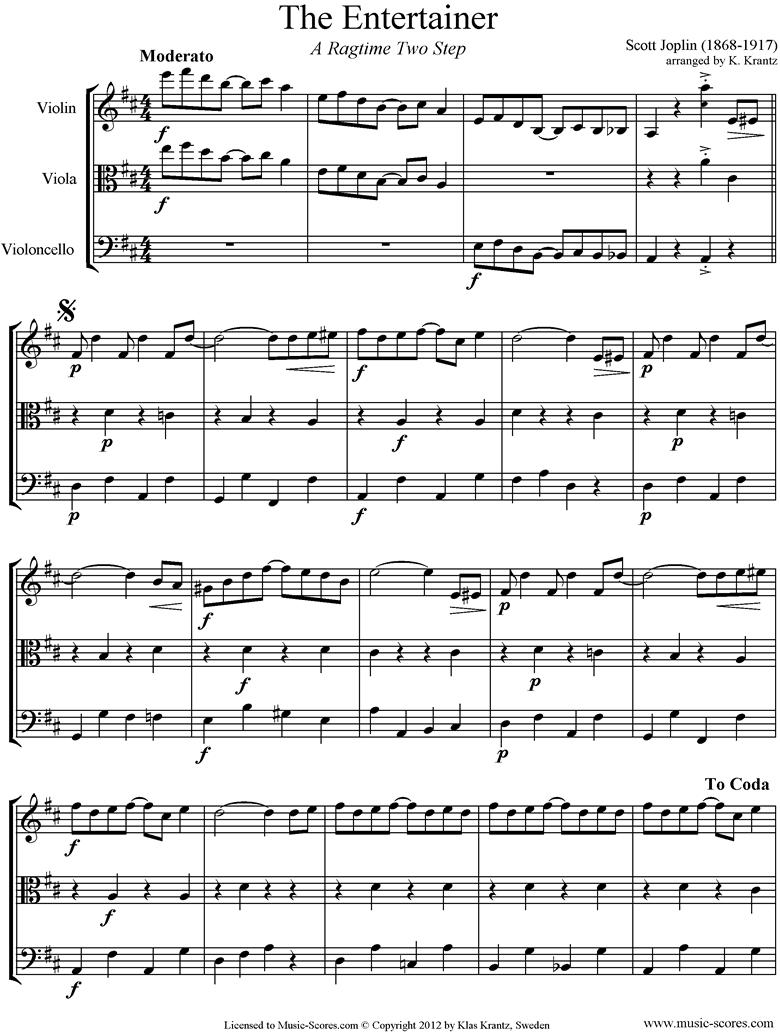 The Entertainer: Violin, Viola, Cello by Joplin