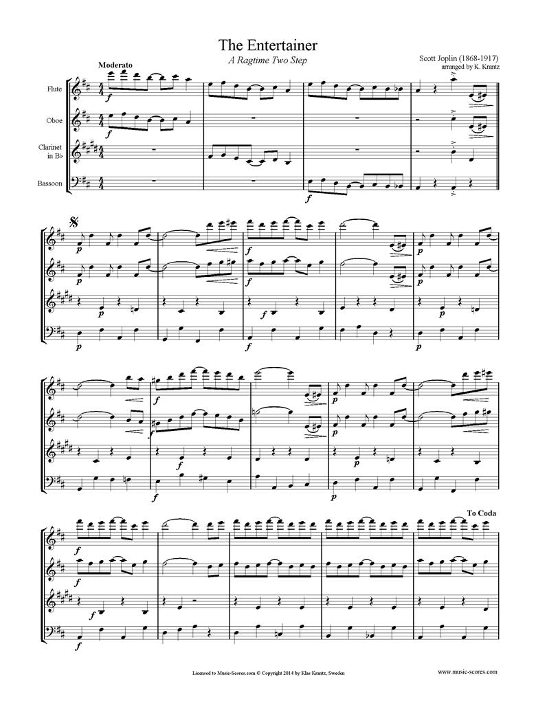 The Entertainer: Flute, Oboe, Clarinet, Bassoon by Joplin