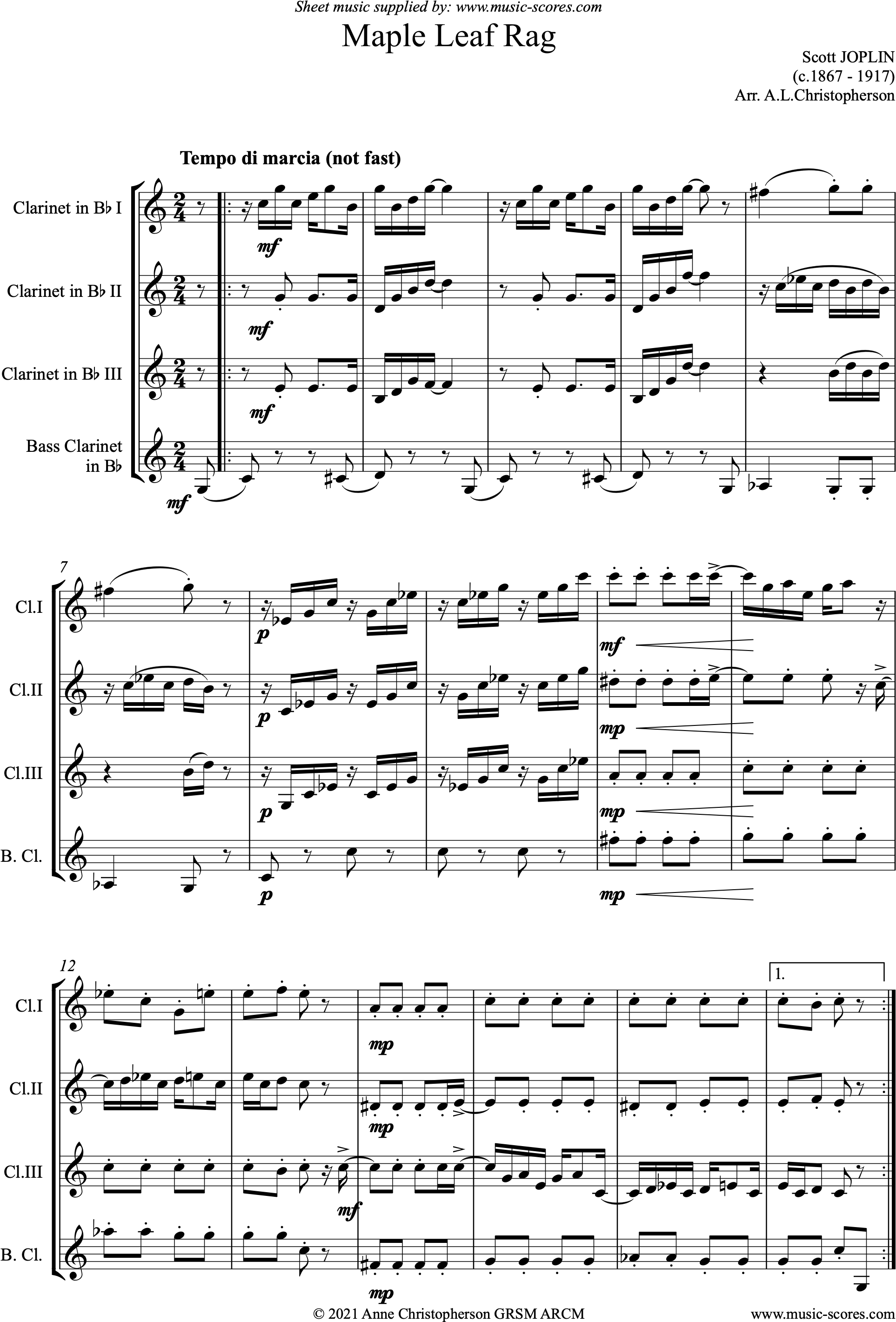Front page of Maple Leaf Rag: 3 Clarinets, Bass Clarinet sheet music