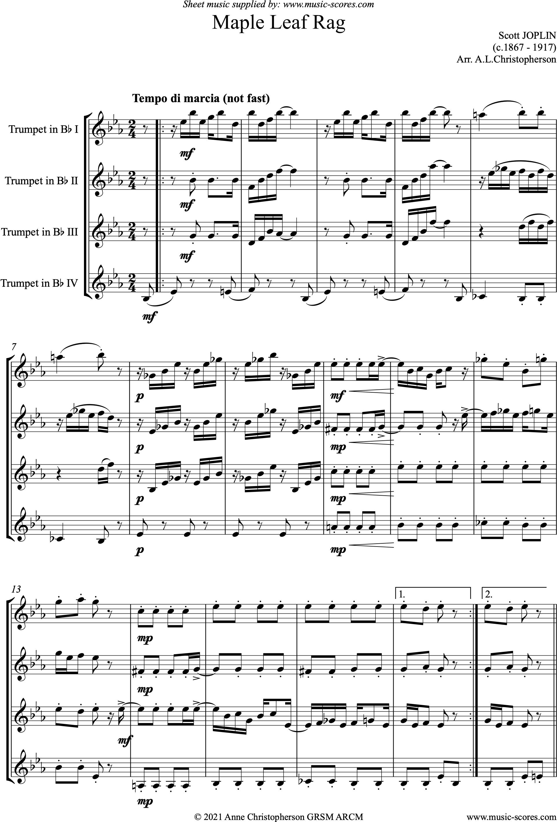 Front page of Maple Leaf Rag: 4 Trumpets sheet music