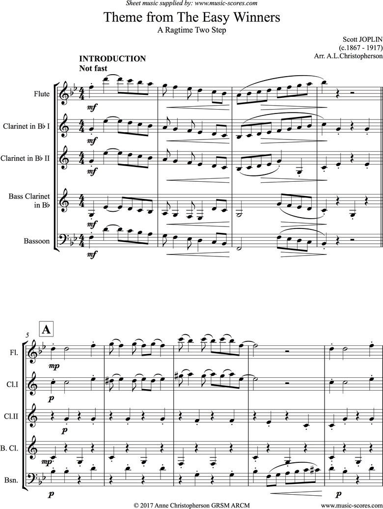 Front page of The Easy Winners Theme: Flute, 2 Clarinets, Bass Clarinet and Bassoon sheet music