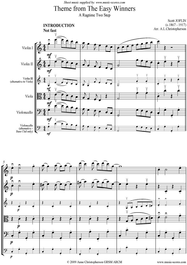 The Easy Winners Theme: String Quartet by Joplin