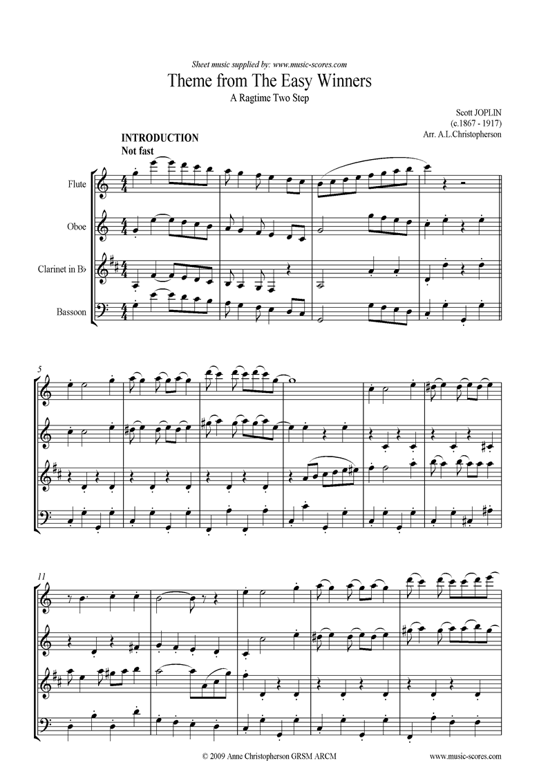 Front page of The Easy Winners Theme: Wind Quartet sheet music