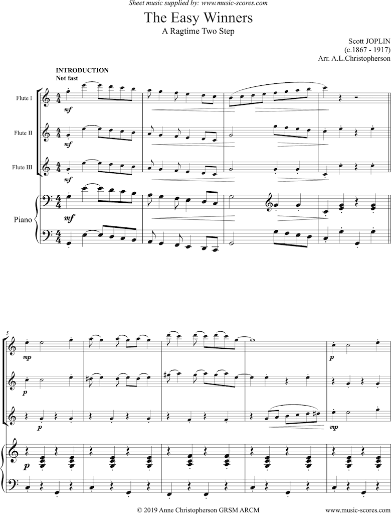 The Easy Winners: Full: 3 Flutes and Piano by Joplin