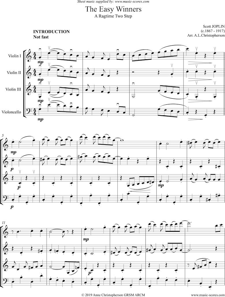 The Easy Winners: Full: 3 Violins, Cello by Joplin