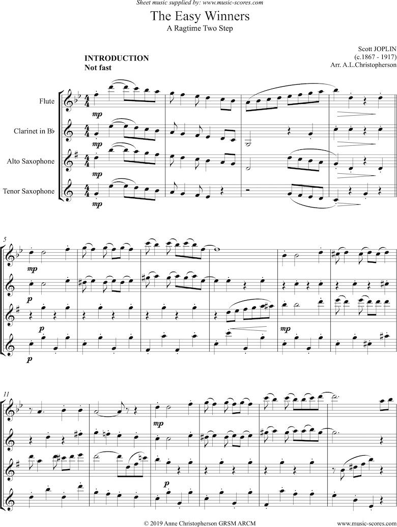 The Easy Winners: Full: Fl, Cl, Alto and Tenor Sax by Joplin