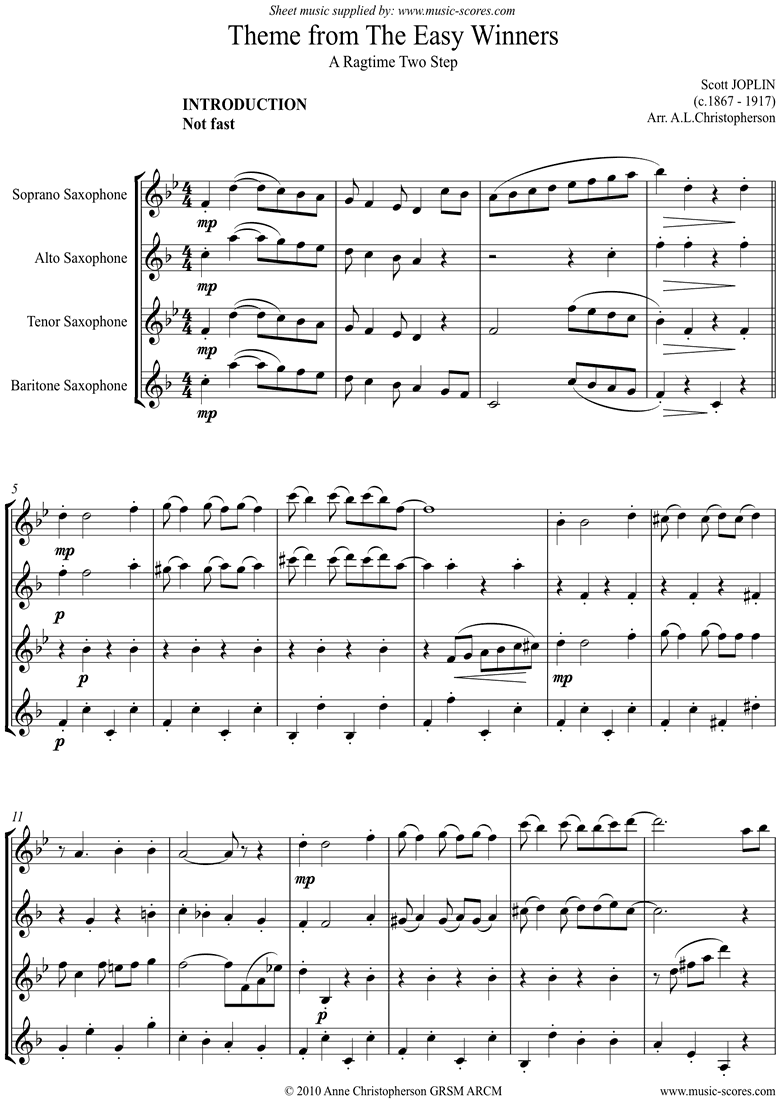 The Easy Winners: Full: Sax Ensemble by Joplin