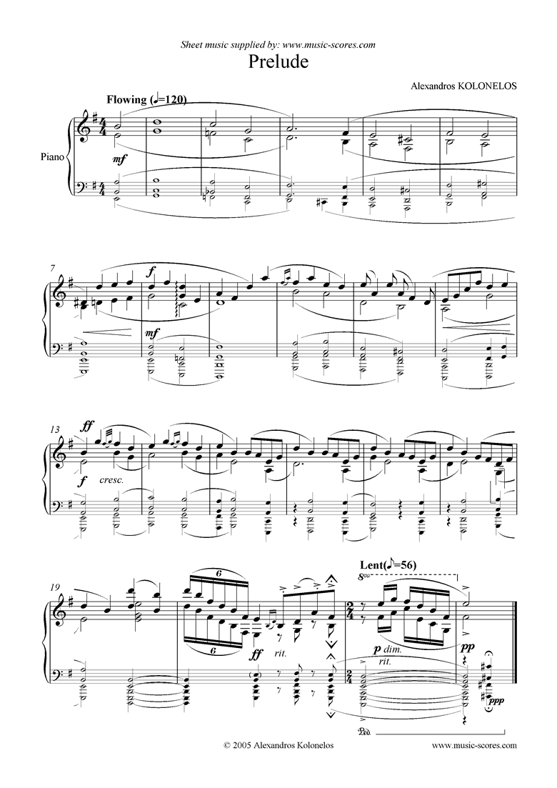 Front page of Prelude sheet music