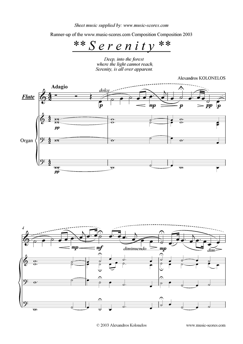 Front page of Serenity: flute and organ sheet music