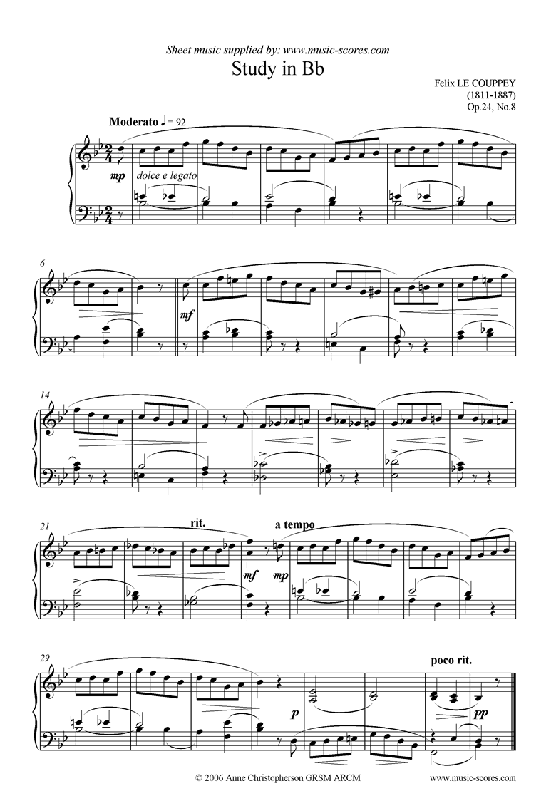 Front page of Op.24, No.08: Study in Bb sheet music