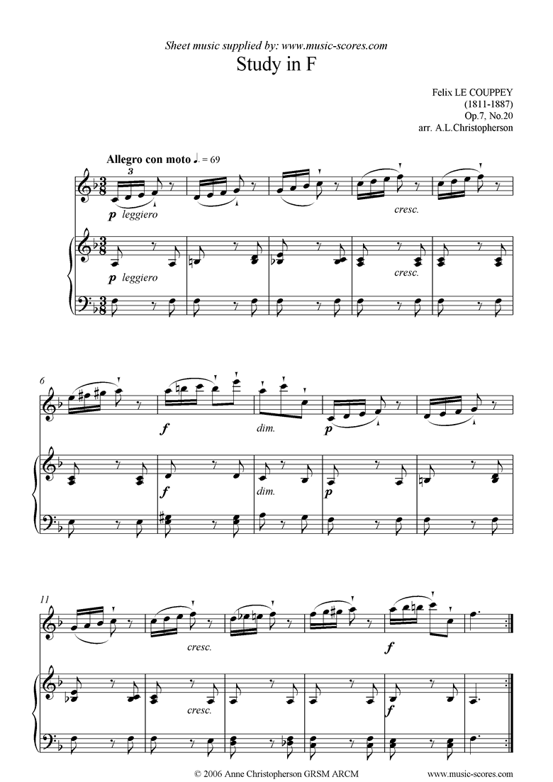 Front page of Op.07, No.20: Study in F: Flute sheet music