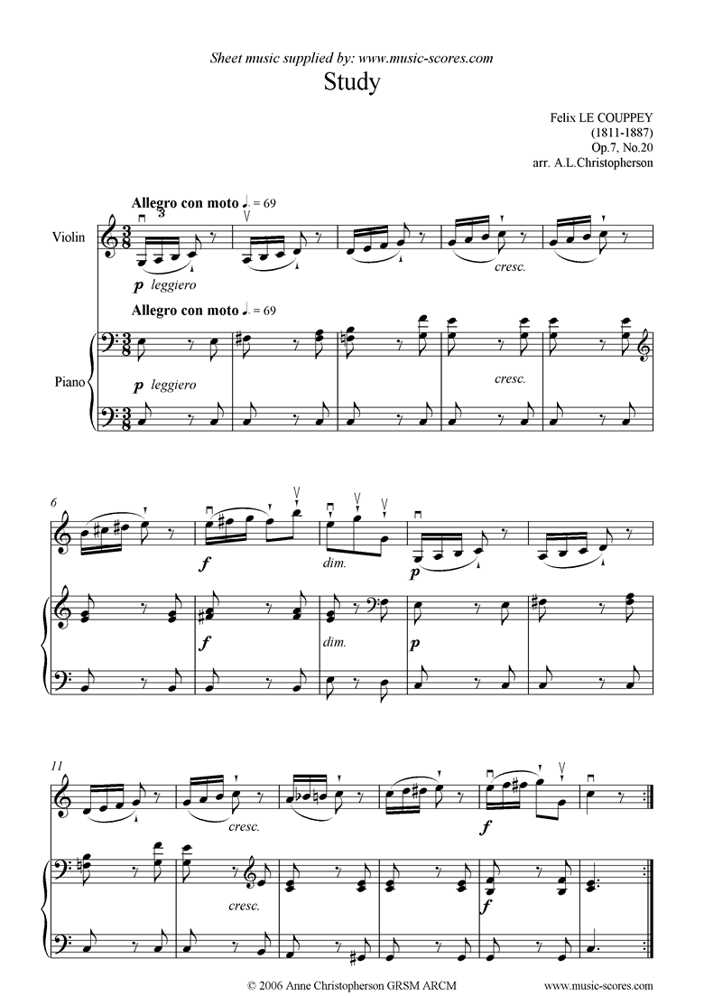 Front page of Op.07, No.20: Study in C: Violin sheet music