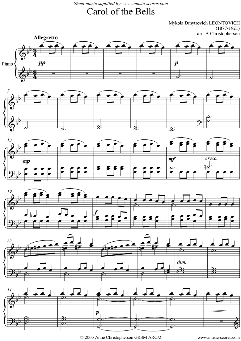 Front page of Carol of the Bells: Piano sheet music