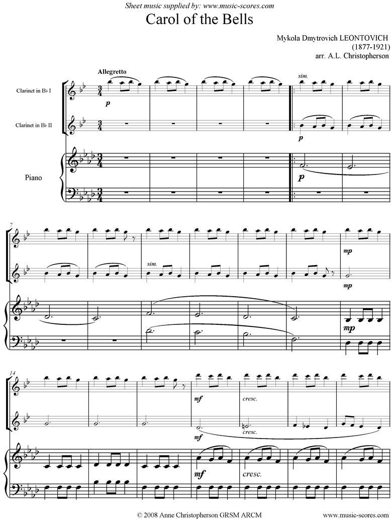 Front page of Carol of the Bells - 2 Clarinets, Piano, F mi sheet music