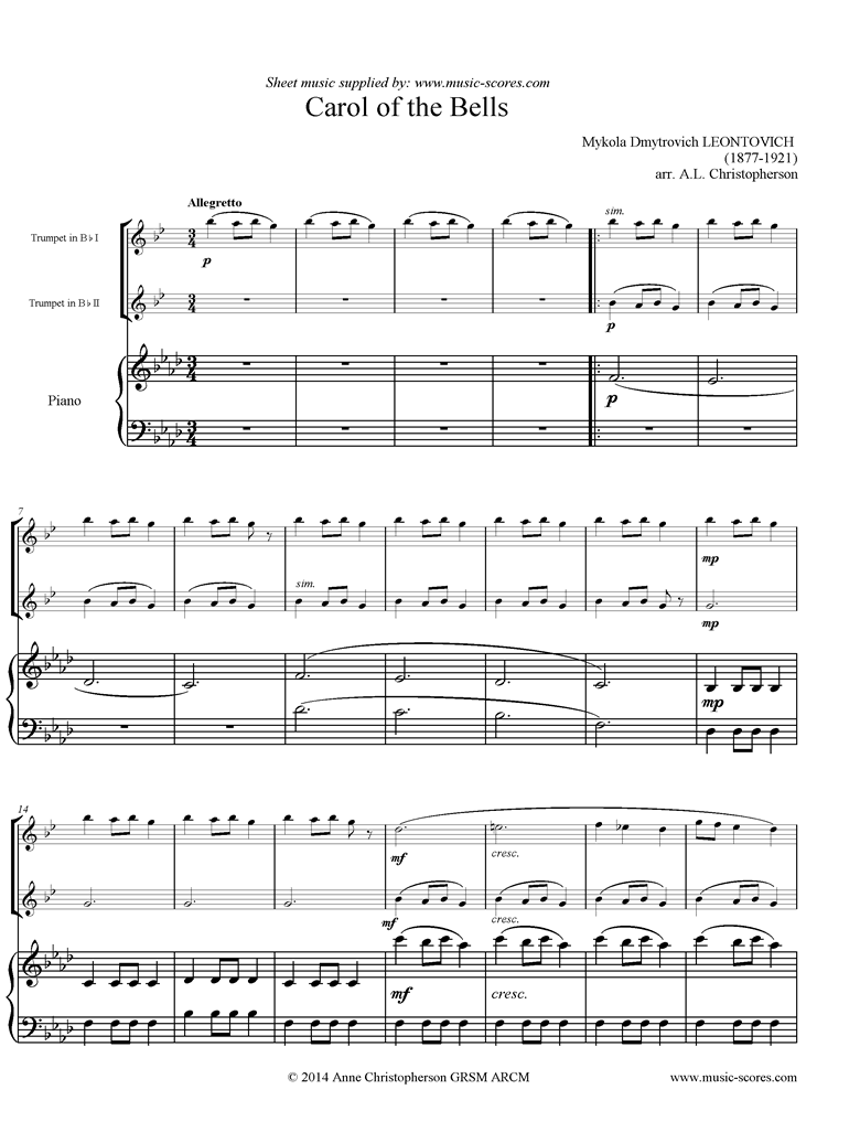Front page of Carol of the Bells - 2 Trumpets, Piano, F mi sheet music